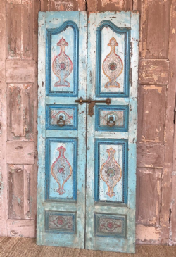 Merchant&#39;s Haveli Doors with distressed paint hues, Gujarat circa 1890 <b>SOLD<b>